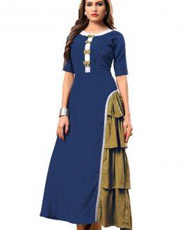 Designer Partywear Pine Green Heavy Rayon Cotton Fancy Kurti