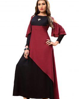 Designer Partywear Maroon Black Heavy Rayon Cotton Fancy Kurti