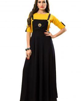 Designer Partywear Yellow Black Heavy Rayon Cotton Fancy Kurti