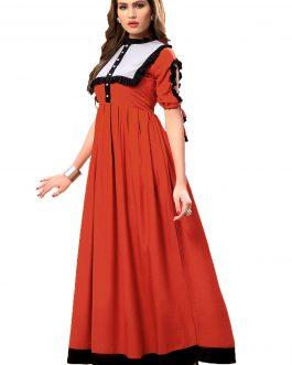 Designer Partywear Red Heavy Rayon Cotton Fancy Kurti