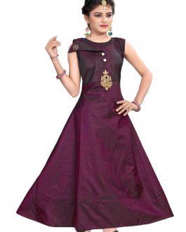 Partywear Designer Wine Soft Tapeta Silk Handworked Gown