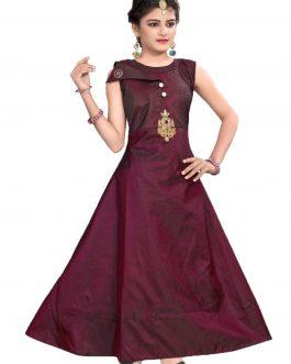 Partywear Designer Maroon Soft Tapeta Silk Handworked Gown