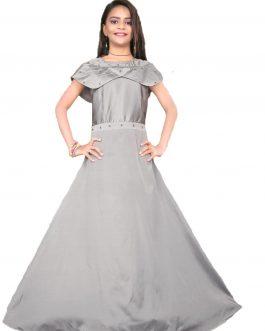Partywear Designer Grey Satin Tapeta Silk Handworked kids Gown