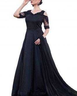 Black Heavy Soft Tafeta Silk Partywear Suit
