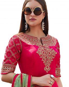 Pink Heavy Soft Tafeta Silk Partywear Suit