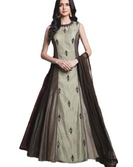 Partywear Designer Brown Heavy Soft Banglori Silk Embroidery Gown