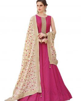 Designer Pink Heavy Soft Banglori Silk Handworked Partywear Suit