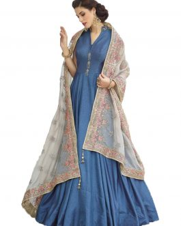 Designer Ice BLue Heavy Soft Banglori Silk Handworked Partywear Suit