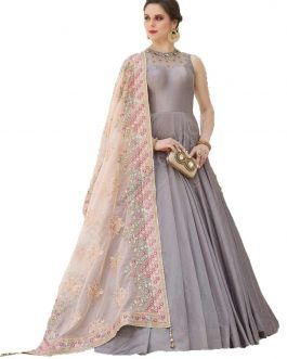 Designer Grey Heavy Soft Banglori Silk Handworked Partywear Suit
