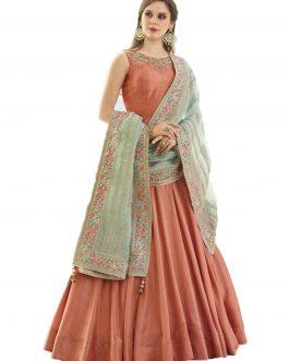 Designer Orange Heavy Soft Banglori Silk Handworked Partywear Suit