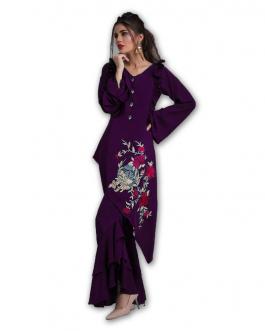 All Season Designer Dark Purple Diamond Heavy Georgette Fancy Kurti