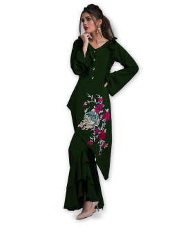 All Season Designer Dark Green Diamond Heavy Georgette Fancy Kurti