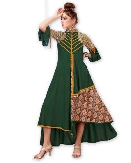 Partywaer Designer Dark Green Heavy Rayon And Muslin Fabric Fancy Kurti