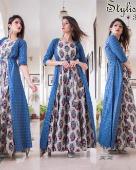 All Season Designer Blue With Multycolor Pure Maslin Gown