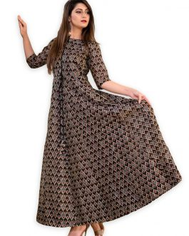 All Season Designer Grey Brown Pure Maslin Gown