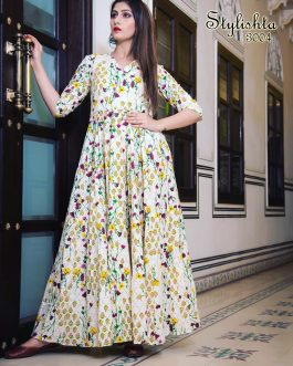 All Season Designer Cream Pure Maslin Gown