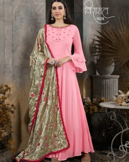 Designer Soft Pink Heavy Cotton Maslin HandWork Partywear Suit