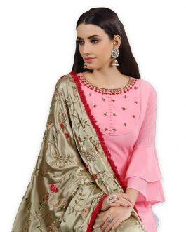 Designer Soft Pink Heavy Cotton Maslin HandWork Partywear Suit