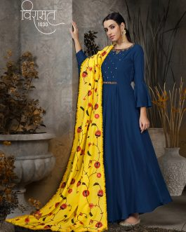 Designer Blue Heavy Cotton Maslin HandWork Partywear Suit